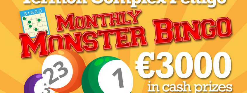 Termon Complex Pettigo - Monthly Monster Bingo - 3000 in cash prizes